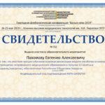 """Пахомов Е.А. свидетельство РОХ """"Белые ночи 2019"""""""